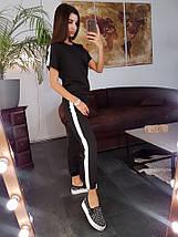 Костюм женский легкий летний повседневный с полоской из костюмки с футболкой штаны с манжетом, фото 3