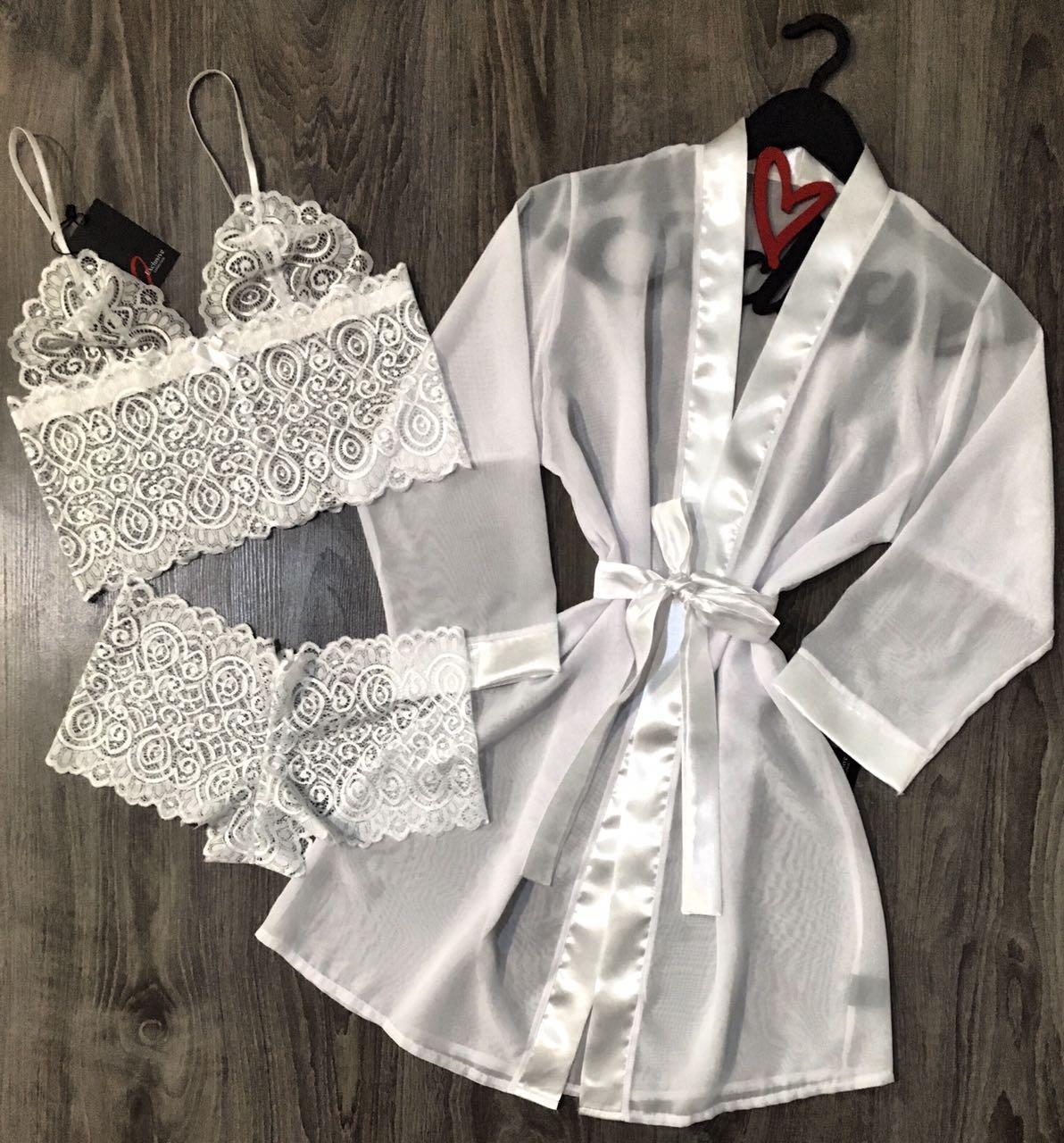 Белый комплект, прозрачный халат+ кружевное белье, набор невеста