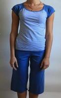 """Комплект спальный женский бриджи с футболкой P 01 """"Ego"""" 95% хлопок цвет голубой"""