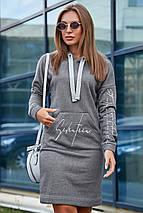 Свободное осеннее платье на каждый день с капюшоном и длинным рукавом цвет серый, фото 3