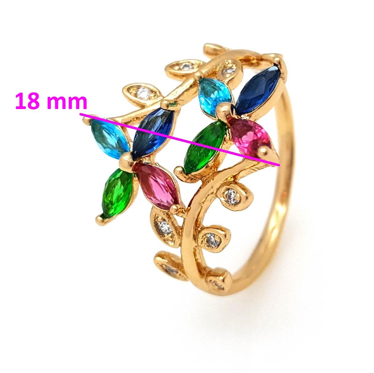 Кольцо Два Цветка, с разноцветным цирконием, р. 18, р. 18,5, медзолото Xuping 18К