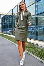 Свободное платье на каждый день с капюшоном и длинным рукавом цвет оливковый, фото 3