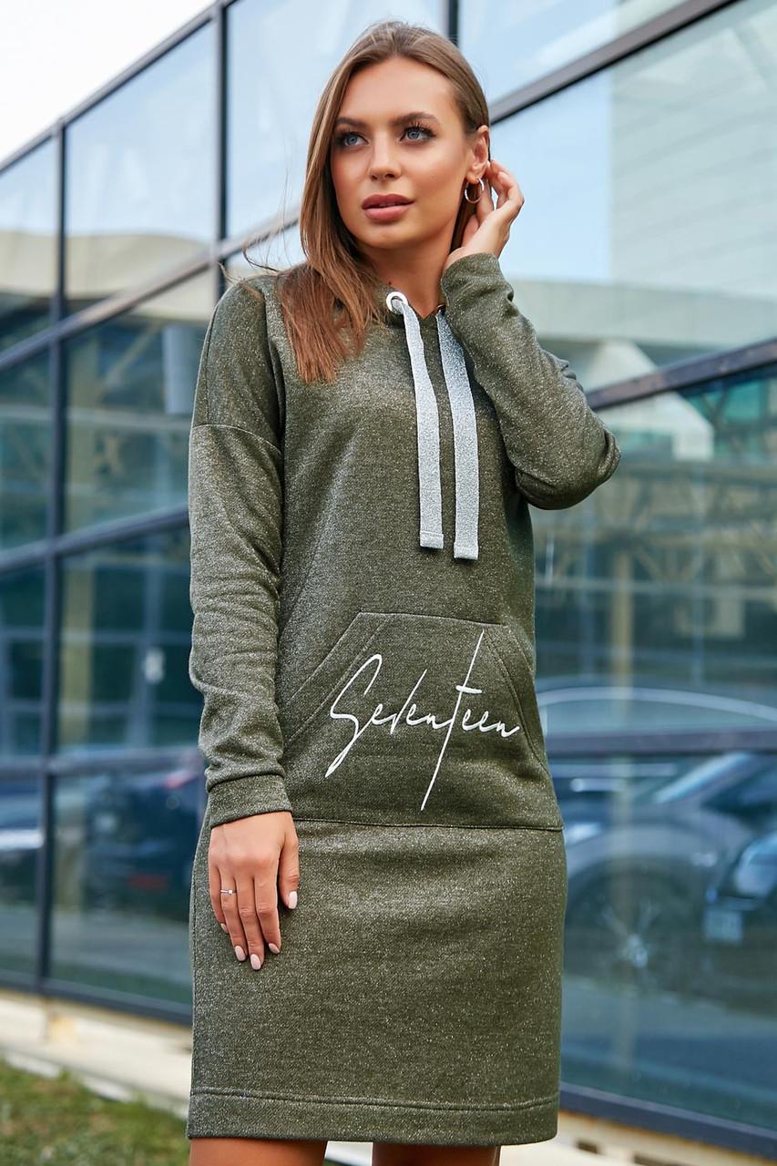 Свободное платье на каждый день с капюшоном и длинным рукавом цвет оливковый