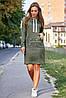 Свободное платье на каждый день с капюшоном и длинным рукавом цвет оливковый, фото 2