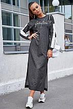 Спортивное осеннее платье с боковым вырезом и длинным рукавом цвет черный меланж, фото 3