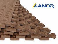 Мягкий пол пазл Lanor (500*500*10мм) Коричневый, фото 1