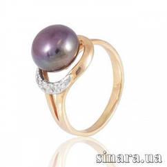 Золотое кольцо с черным жемчугом 6210ж