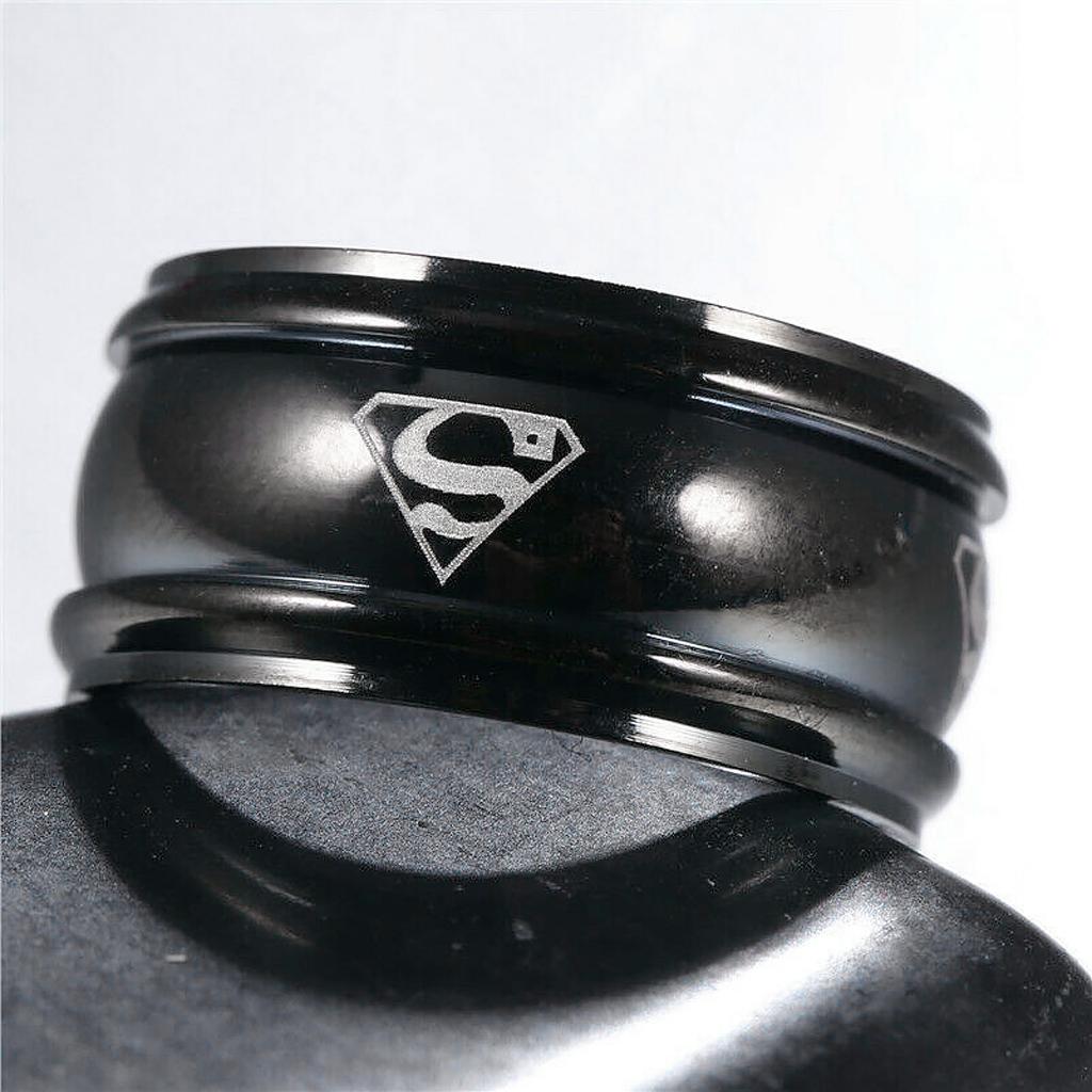 """Кільце з нержавіючої сталі, """"Супермен"""", чорне анодування, 1206КЖ"""