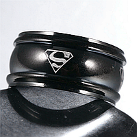 """Кільце з нержавіючої сталі, """"Супермен"""", чорне анодування, 1206КЖ, фото 1"""