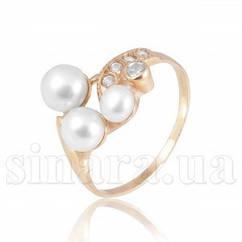 Золотое кольцо с белым жемчугом 6220ж