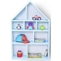 Детский Домик стеллаж голубой полочки, фото 1