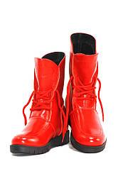 Сапоги демисезонные для девочек красные кожаные (0058)