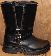 Сапожки черные кожаные женские демисезонные от производителя модель КА1026Д