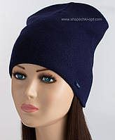 Утепленная вязаная шапочка Матео цвета индиго