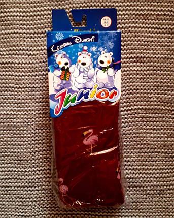 Махровые детские колготы красного цвета ТМ Jnnior (Украина)  размер 116 122, фото 2