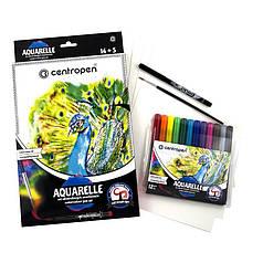 Фломастеры акварельные 12 цветов + 1 линер + 1 кисточка + 5 листов акварельной бумаги Centropen AQUARELLE 9383
