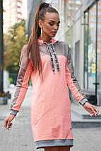 Прямое теплое платье с карманами до колен цвет персиковый, фото 2