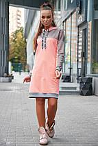 Прямое теплое платье с карманами до колен цвет персиковый, фото 3
