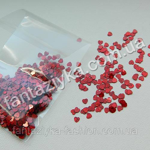 Пайетки Сердечки малюсенькие 3мм, красные с голограммой, 2г