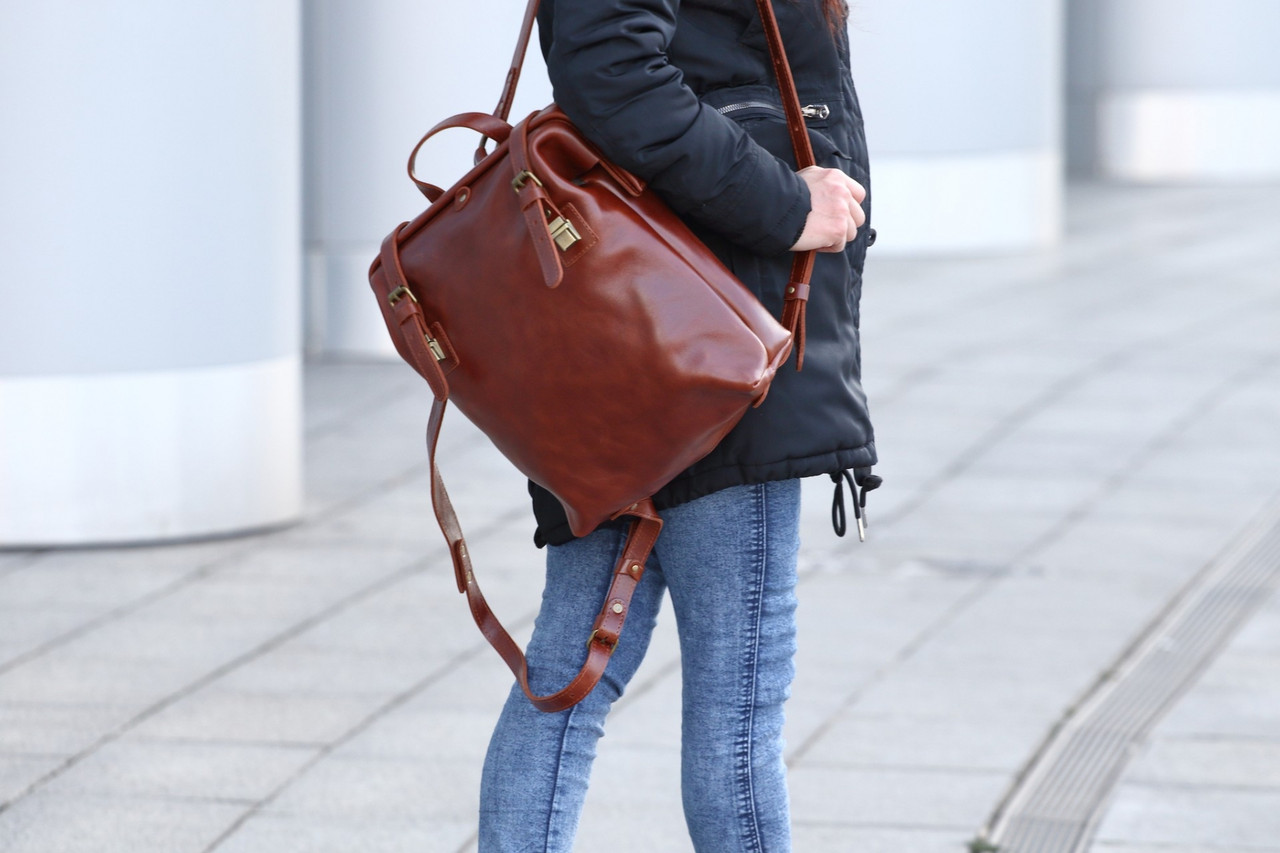 "Рюкзак мужской кожаный на раме ""Mone"". Цвет бренди"