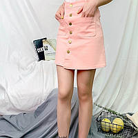 Женская юбка Coardiarn трапеция на пуговицах с карманами розовая L, фото 1