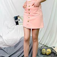 Женская юбка Coardiarn трапеция на пуговицах с карманами розовая M, фото 1