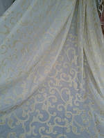 Тюль Лоран белая с золотом