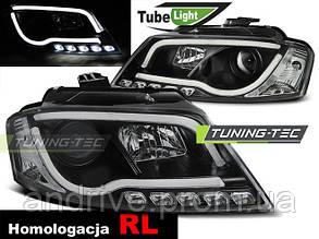 Передние фары для Audi A3 8P (2008-2012) RL тюнинг тёмные