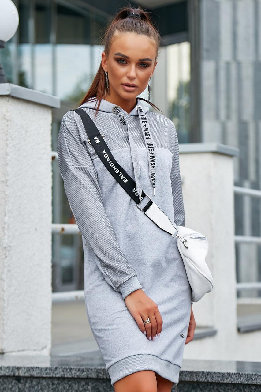 Спортивное теплое платье до колен длинный рукав с карманами с капюшоном цвет серый