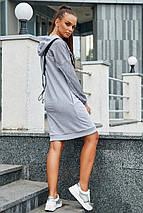 Спортивное теплое платье до колен длинный рукав с карманами с капюшоном цвет серый, фото 3