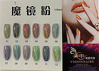 Новинка!Втирка для дизайна ногтей голограмма с микроблестками