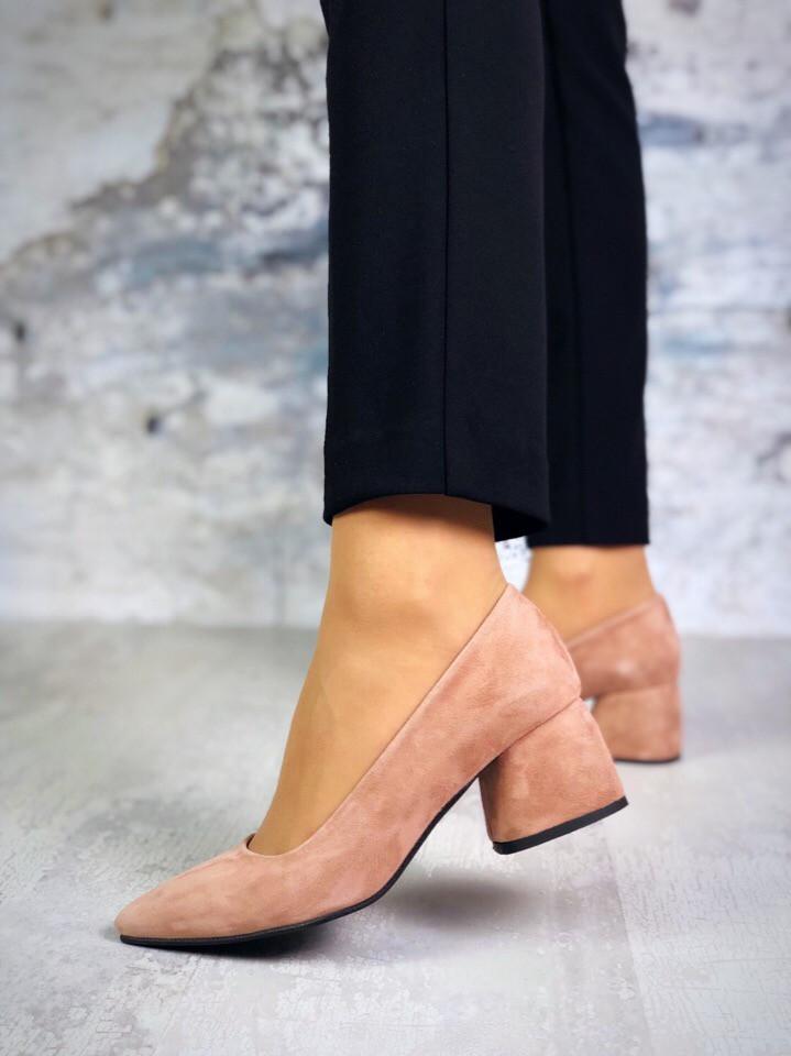 Шикарные замшевые туфли на каблучке 36-40 р пудра