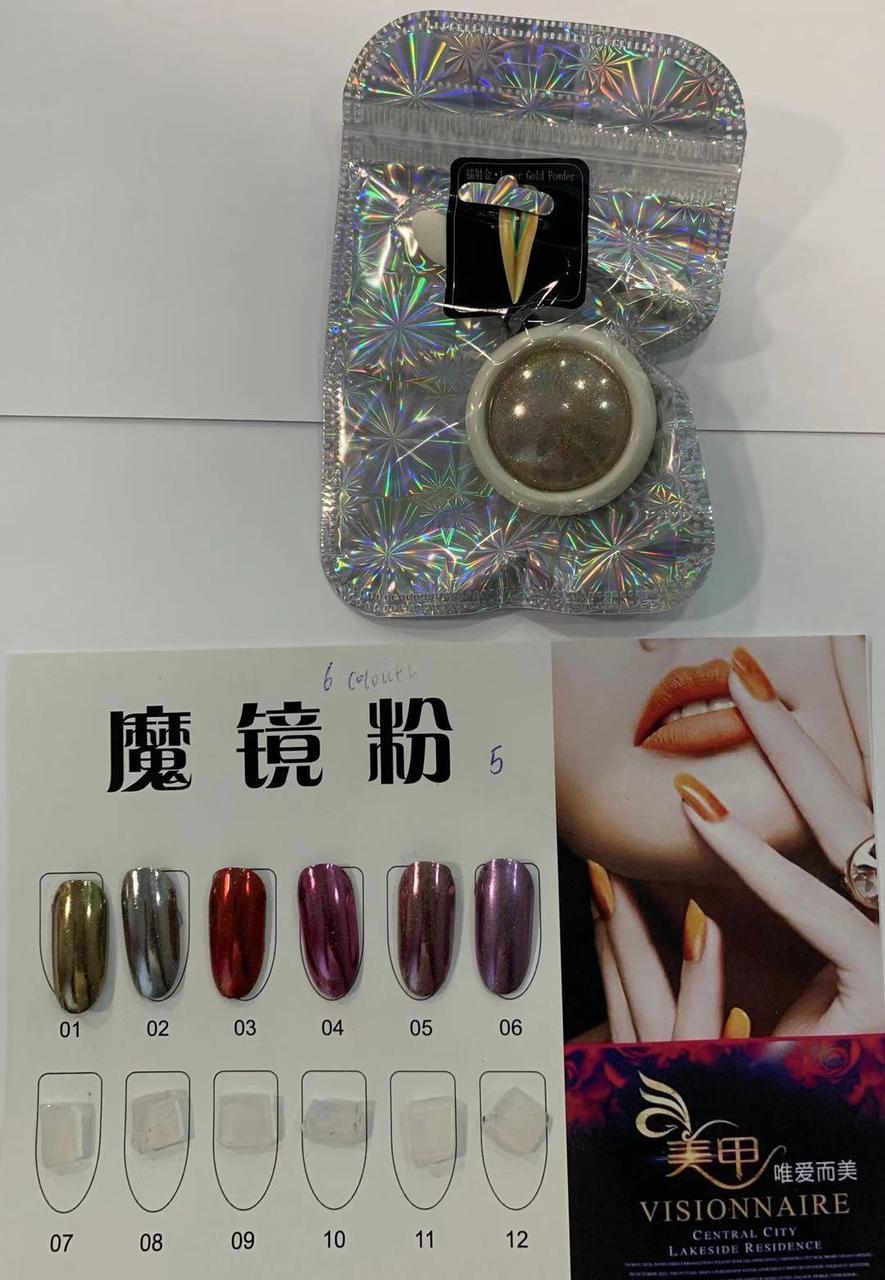 Новинка!Втирка для дизайна ногтей ,зеркальная супер мелкая 6 цветов.