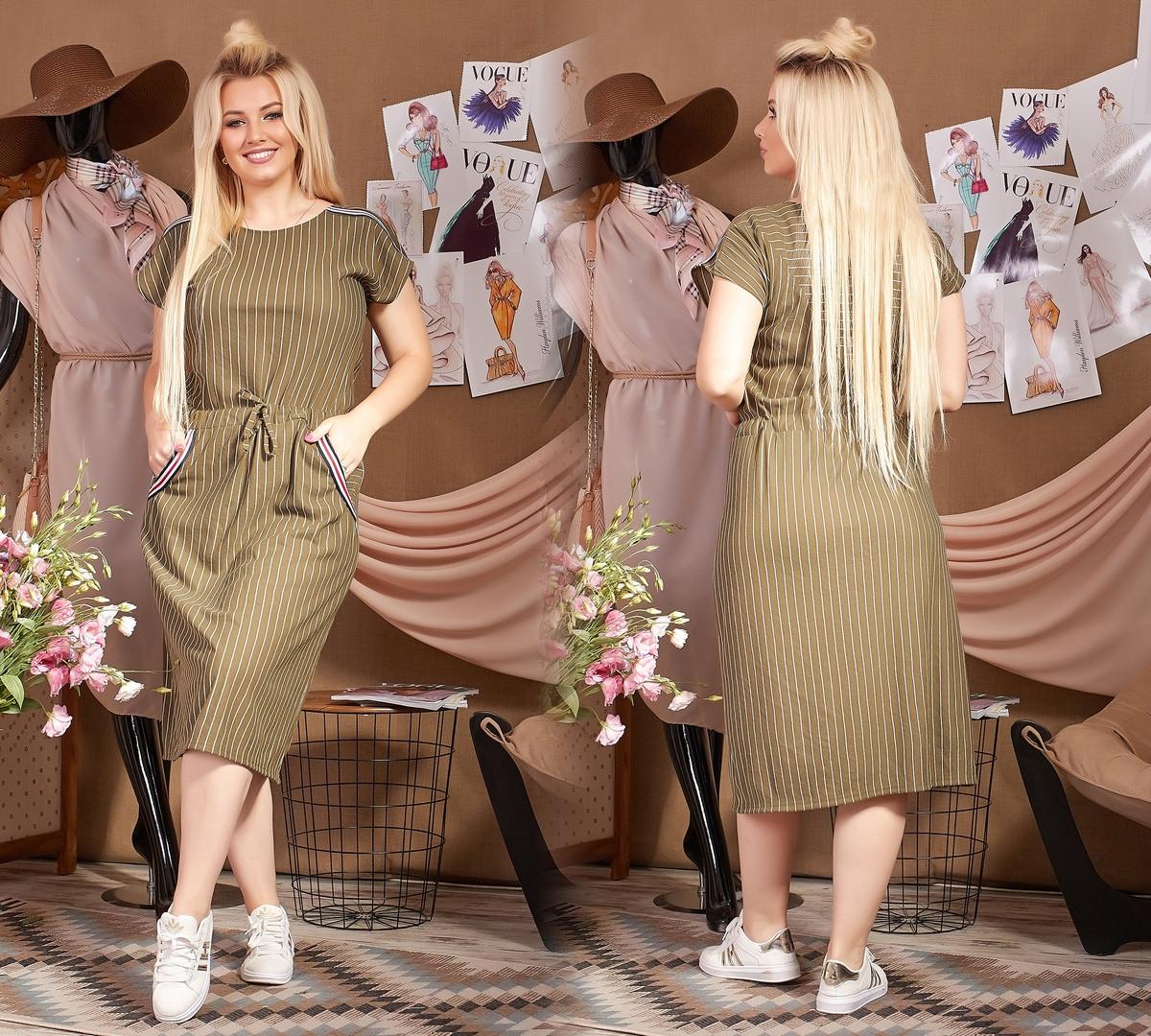 """Льняное платье больших размеров  """"Lynn"""" р-ры от 48 до 62 - длина миди, в полоску  317-613"""