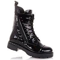 Лаковые демисезонные ботинки на шнурках и молнии для девочек Tutubi 11.3.424 (31-40)