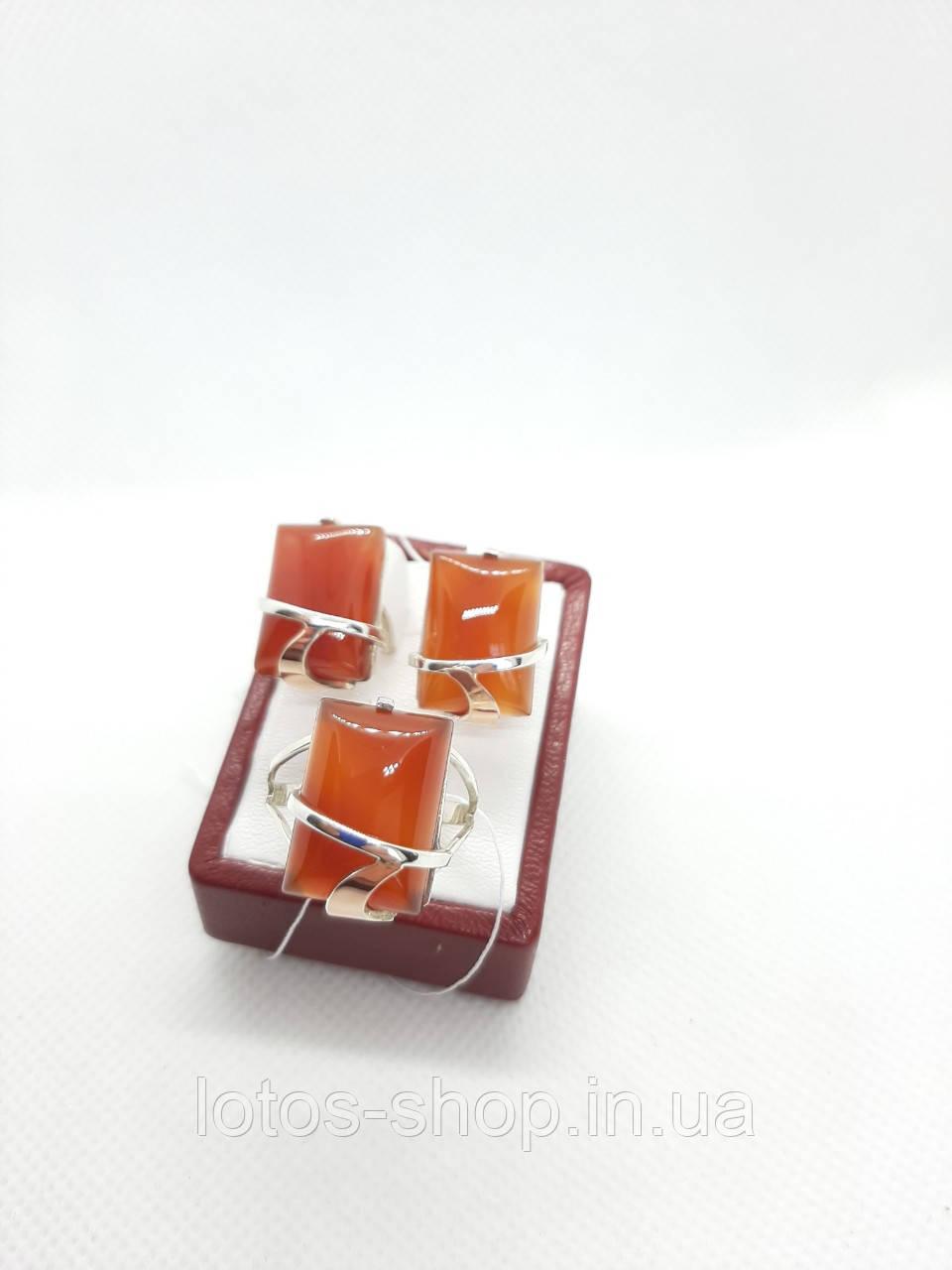 """(Распродажа) Набор ювелирный с натуральным камнем сердолик"""" Парус"""""""