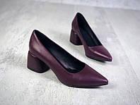 Шикарные кожаные туфли на каблучке 36-40 р слива, фото 1