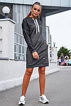 Демисезонное платье миди с капюшоном с линным рукавом карманами цвет черный меланж, фото 2