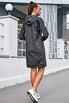 Демисезонное платье миди с капюшоном с линным рукавом карманами цвет черный меланж, фото 3
