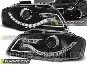 Передние фары Audi A3 8P (2003-2008) тюнинг тёмные