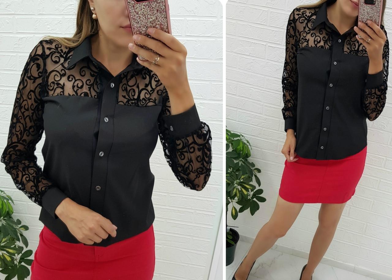 Женская блуза со вставками сетки флок 48-50, 52-54