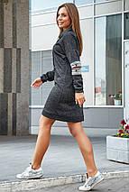 Теплое осеннее платье миди спортивного стиля с длинным рукавом цвет черный, фото 2