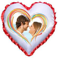 Подушка атласна у формі Серця з Вашим дизайном Червоний