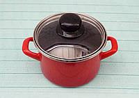 190384 Кастрюля глубокая 1,5 л Красный гранат Мetalac, фото 1
