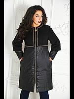 Пальто комбинированное с золотой фурнитурой №350-черный, фото 1