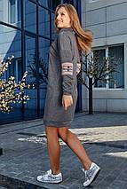 Прямое теплое платье до колен длинный рукав цвет серый, фото 2