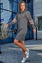 Прямое теплое платье до колен длинный рукав цвет серый, фото 3