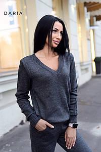 Женский вязанный брючный костюм (Серый)