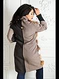 Пальто со вставками натурального меха енота №165 Домино-бежевый, фото 7