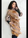 Пальто со вставками натурального меха енота №165 Домино-бежевый, фото 5